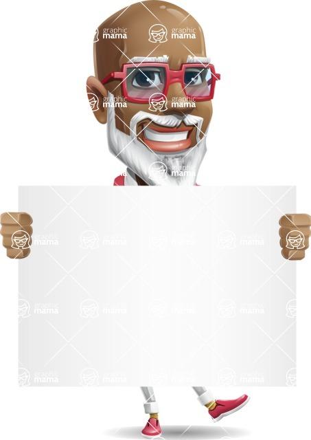 Mature African American Man Cartoon Character - Holding a Big Blank banner