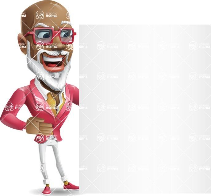 Mature African American Man Cartoon Character - Showing Big Blank banner