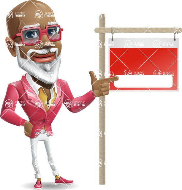 Mature African American Man Cartoon Character - with Blank Real estate sign