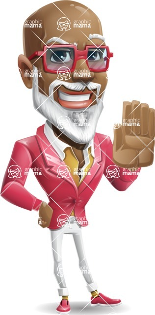 Mature African American Man Cartoon Character - Making stop with a hand