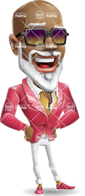 Mature African American Man Cartoon Character - with Sunglasses