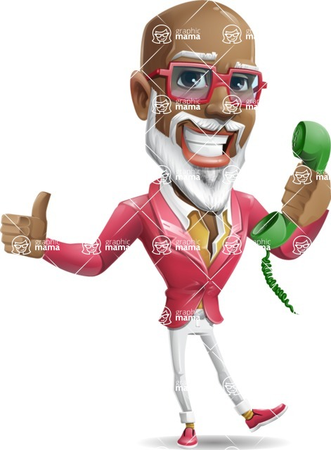Mature African American Man Cartoon Character - Holding phone with thumbs up