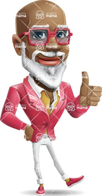 Mature African-American Man Cartoon Vector Character - Making Thumbs Up
