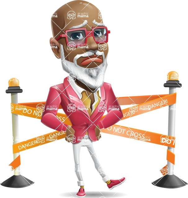 Mature African American Man Cartoon Character - with Under Construction sign