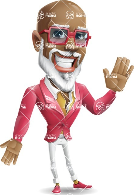 Mature African American Man Cartoon Character - Waving