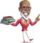 Mature African-American Man Cartoon Vector Character - with Books