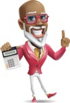 Mature African American Man Cartoon Character - with Calculator