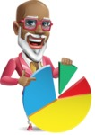 Mature African American Man Cartoon Character - with Business graph