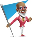 Mature African American Man Cartoon Character - with Flag