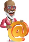 Mature African American Man Cartoon Character - with Email sign