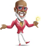 Mature African-American Man Cartoon Vector Character - with an Idea