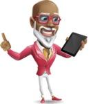 Mature African-American Man Cartoon Vector Character - Holding an iPad