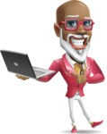 Mature African American Man Cartoon Character - Holding a laptop
