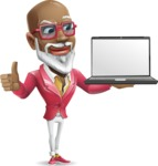 Mature African-American Man Cartoon Vector Character - Presenting on laptop