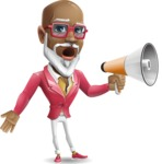 Mature African-American Man Cartoon Vector Character - Holding a Loudspeaker