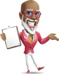 Mature African American Man Cartoon Character - with a Notepad