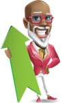 Mature African-American Man Cartoon Vector Character - with Up arrow