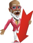 Mature African American Man Cartoon Character - with Arrow going Down