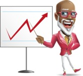Mature African-American Man Cartoon Vector Character - Pointing on a Blank whiteboard