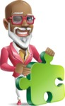 Mature African-American Man Cartoon Vector Character - with Puzzle