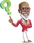 Mature African American Man Cartoon Character - with Question mark