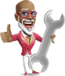 Mature African-American Man Cartoon Vector Character - with Repairing tool wrench