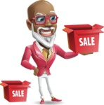 Mature African American Man Cartoon Character - with Sale boxes