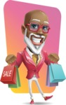 Mature African American Man Cartoon Character - Shape 12