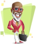 Mature African-American Man Cartoon Vector Character - Shape5
