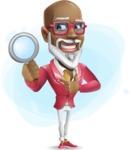 Mature African-American Man Cartoon Vector Character - Shape9