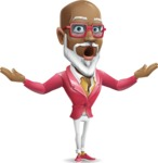 Mature African American Man Cartoon Character - Feeling Shocked