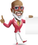 Mature African American Man Cartoon Character - with a Blank paper