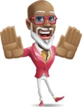 Mature African-American Man Cartoon Vector Character - Making stop gesture with both hands