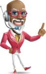 Mature African American Man Cartoon Character - Talking on phone