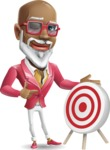 Mature African-American Man Cartoon Vector Character - with Target