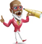 Mature African American Man Cartoon Character - Looking through telescope