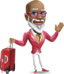 Mature African-American Man Cartoon Vector Character - with Suitcase