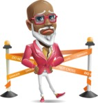 Mature African-American Man Cartoon Vector Character - with Under Construction sign