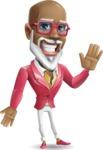 Mature African-American Man Cartoon Vector Character - Waving