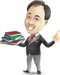 Asian Businessman Cartoon Vector Character - with Books