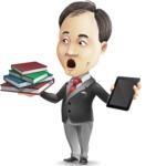 Asian Businessman Cartoon Vector Character - Choosing between Book and Tablet