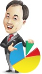 Asian Businessman Cartoon Vector Character - with Business graph