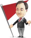 Asian Businessman Cartoon Vector Character - with Flag