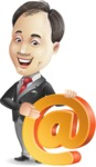Asian Businessman Cartoon Vector Character - with Email sign
