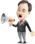 Asian Businessman Cartoon Vector Character - Holding a Loudspeaker
