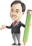 Asian Businessman Cartoon Vector Character - Holding Pencil