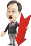 Asian Businessman Cartoon Vector Character - with Arrow going Down
