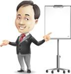 Asian Businessman Cartoon Vector Character - with a Blank Presentation board