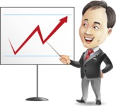 Asian Businessman Cartoon Vector Character - Pointing on a Blank whiteboard