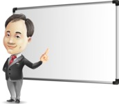 Asian Businessman Cartoon Vector Character - Making a Presentation on a Blank white board